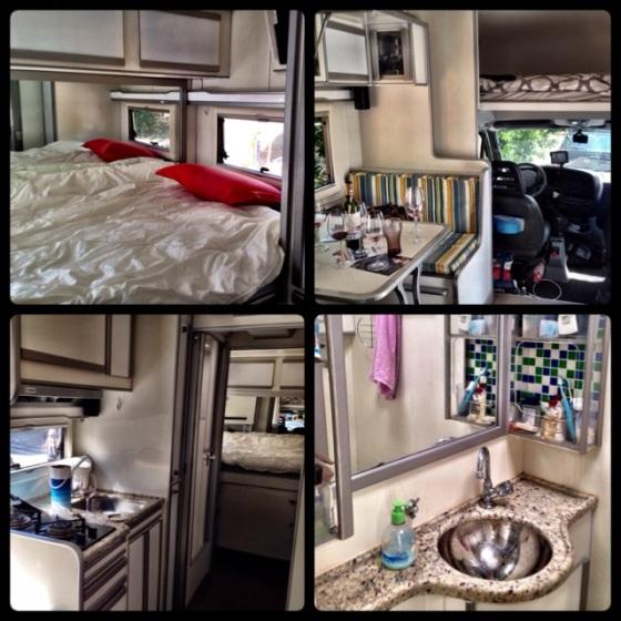 Interior do motorhome - dois quartos, copa/cozinha e toilet! Tudo o que uma casa precisa...